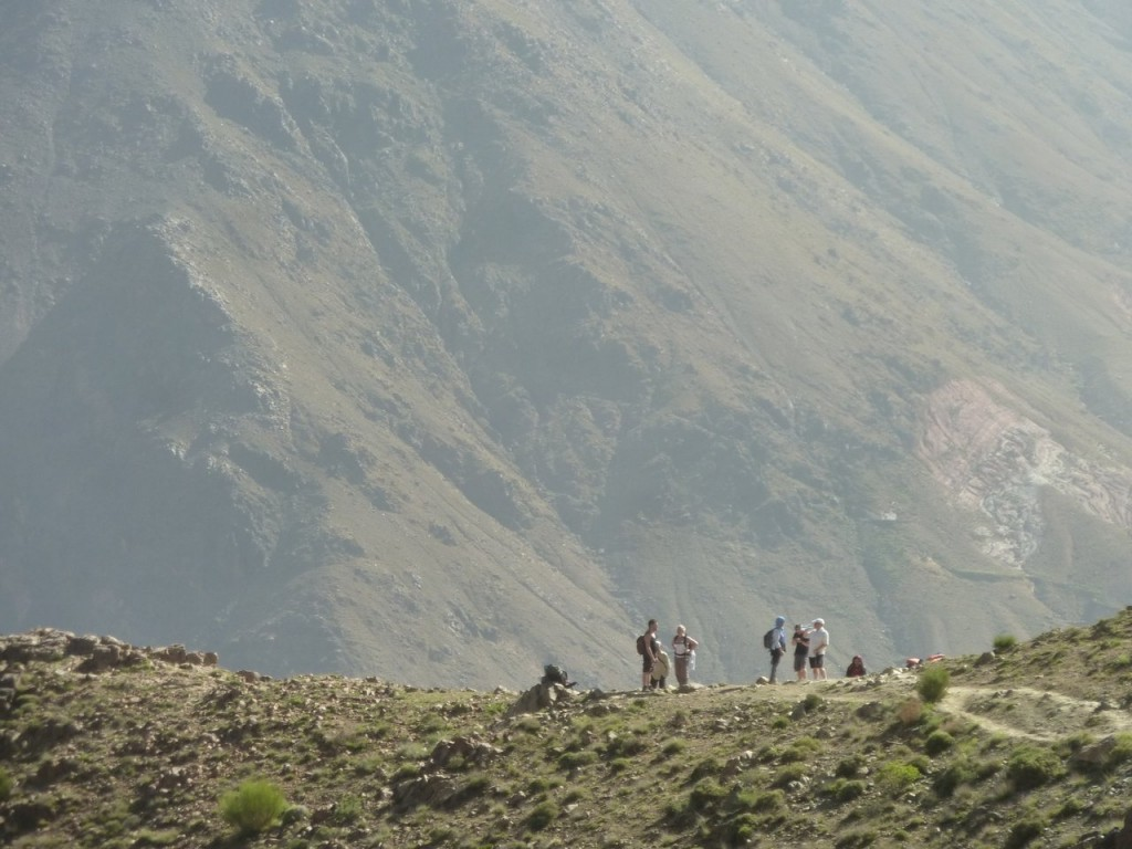 Trekkers in the High Atlas Mountains