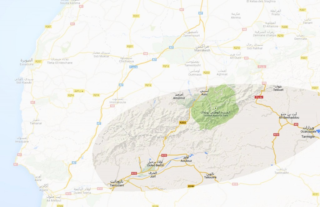 The darker area on the map is Latifa Asselouf Trekking Zone